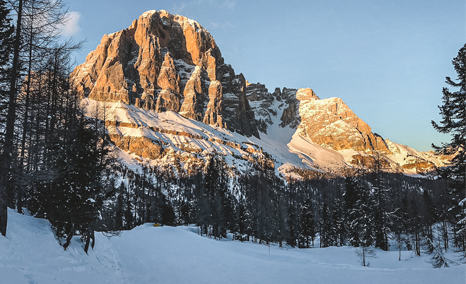 Image of the snow-capped Dolomites from the Cortina wood