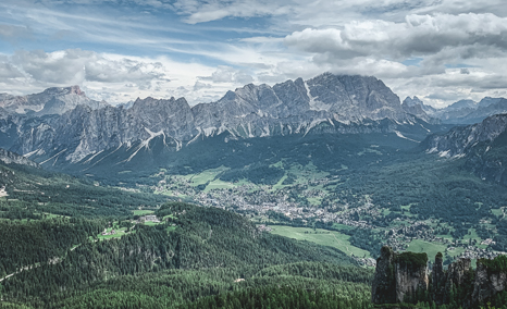 Panorama view of the mountains of Cortina d'Ampezzo in summer.