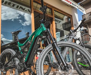 Electric bike on display bookable at Cortina Pro Sport