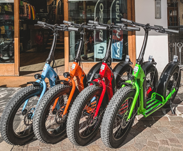 Electric scooters bookable at Cortina Pro Sport